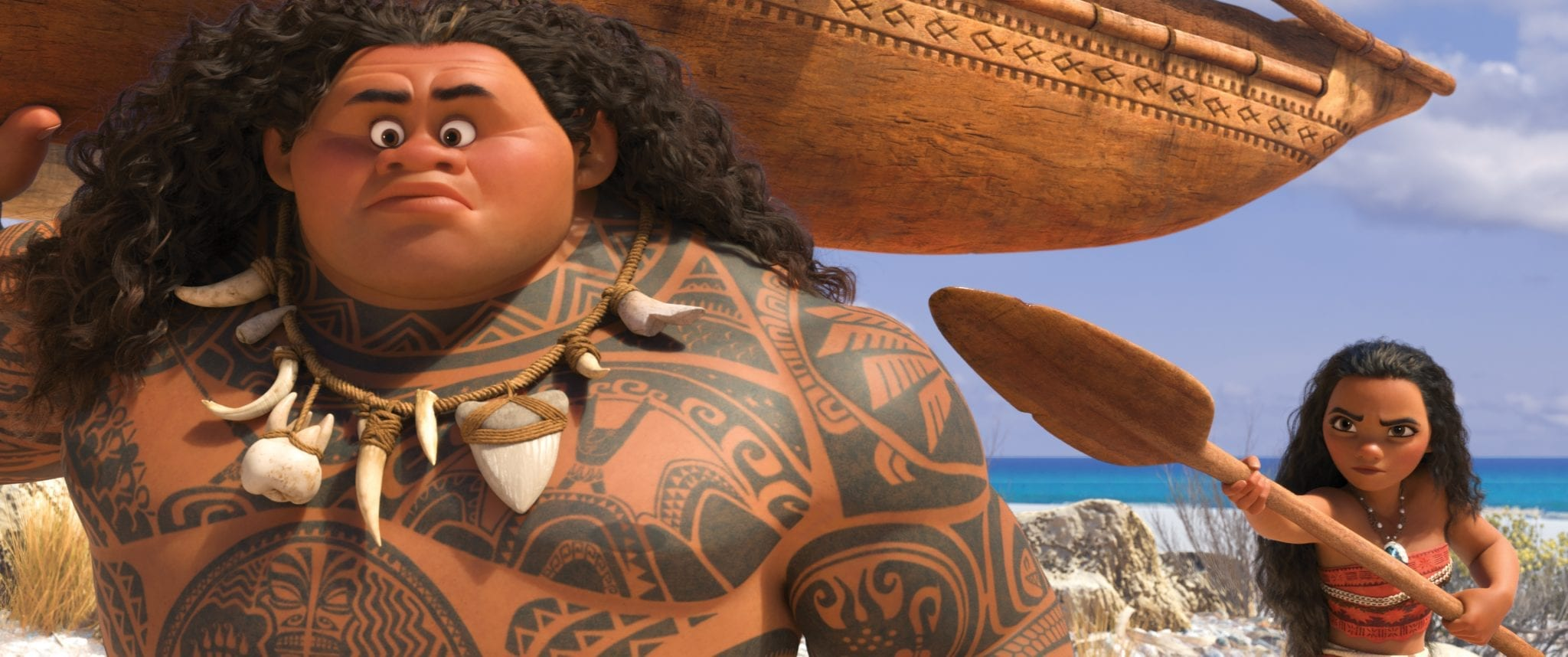 """MOANA'S MISSION — Maui (voice of Dwayne Johnson) may be a demigod—half god, half mortal, all awesome—but he's no match for Moana (voice of Auli'i Cravalho), who's determined to sail out on a daring mission to save her people. Moana's first challenge is convincing Maui to join her. Directed by Ron Clements and John Musker, produced by Osnat Shurer, and featuring music by Lin-Manuel Miranda, Mark Mancina and Opetaia Foa'i, """"Moana"""" sails into U.S. theaters on Nov. 23, 2016. ©2016 Disney. All Rights Reserved."""