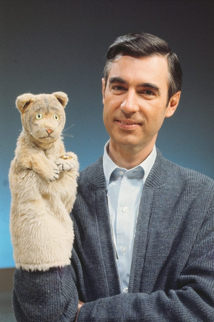 Fred Rogers with Daniel Tiger from his show Mr. Rogers Neighborhood in the film, WON'T YOU BE MY NEIGHBOR, a Focus Features release.Credit: Focus Features