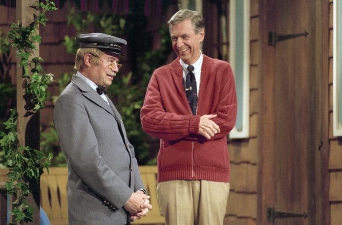 Life Magazine shoot: WQED studio. Fred Rogers and David Newell, as Speedy Delivery's Mr. McFeely, stand on the front porch set while filming an episode of Mister Rogers' Neighborhood.