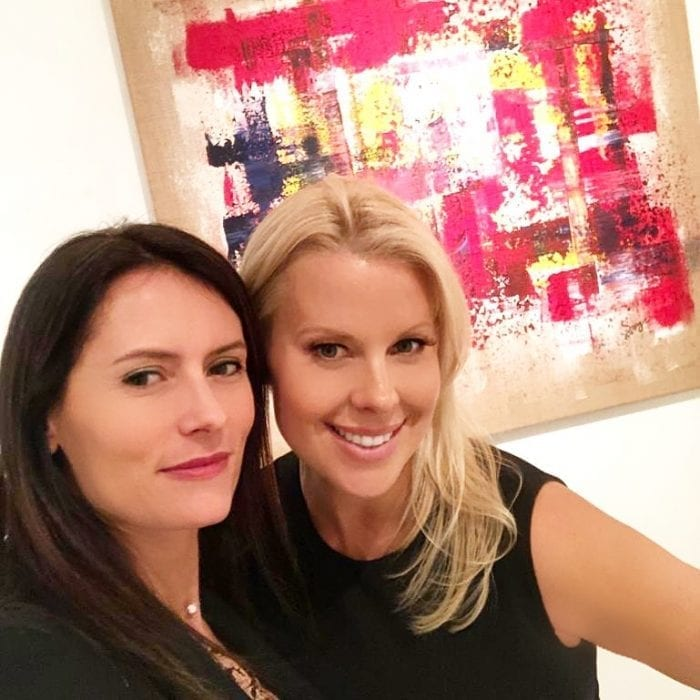 Beth Bowen with French Abstract Painter Sangie at the showcase for Gabriel Fine Arts out of London.